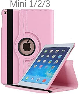 iPad Mini 1/2/3 Case - 360 Degree Rotating Stand Smart Cover Case with Auto Sleep/Wake Feature for Apple iPad Mini 1 / iPad Mini 2 / iPad Mini 3 (Pink) …