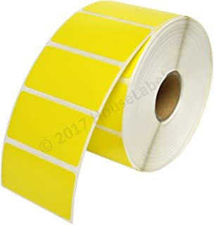 """10 Rolls; 1,300 Yellow 2"""" x 1"""" Direct Thermal Labels per Roll Compatible with Zebra/Eltron- 2 x 1 Labels (2"""" x 1"""") - BPA Free!"""