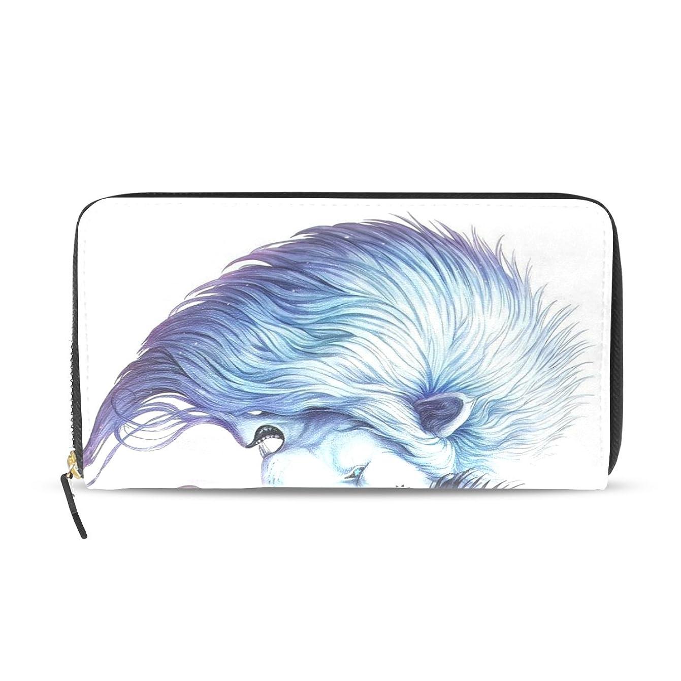 応用ビクター製造GORIRA(ゴリラ) 心形 ライオン 長財布 レディース PU ダブルサイド印刷 ァスナー開閉式 ウォレット