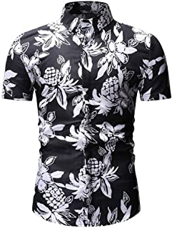 Men Tops Personality Summer Stand Collar Button Short Sleeve Printed Shirt Top 4th of July Blouses