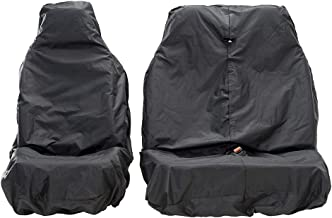 AutoCompanion - Fundas impermeables para asiento de furgoneta, universales (set compuesto por 1 funda de asiento y 1 funda de asiento corrido) - Negro