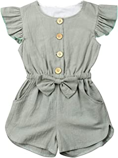 1-6T Little Girl Baby Cotton Jumpsuit Outfits Buttons Ruffle Romper Clothes
