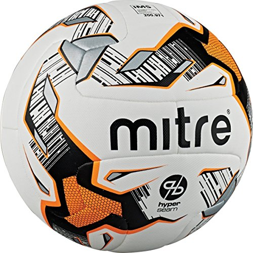 Mitre Ultimatch Hyperseam Soccer Ball, White/Black/Orange, Size 3