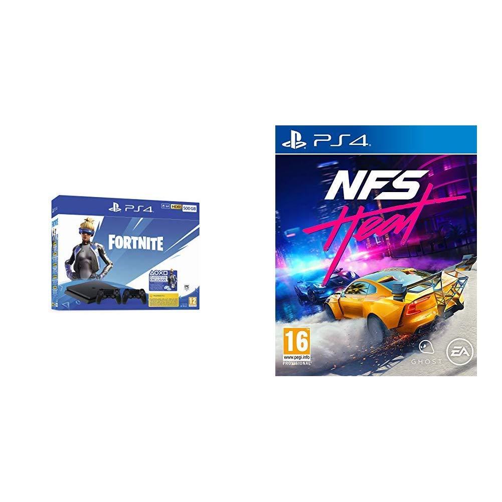 Playstation 4 (PS4) - Consola 500 Gb + 2 Mandos Dual Shock 4 + Contenido Fortnite (Edición Exclusiva Amazon) + Need for Speed Heat: Amazon.es: Videojuegos