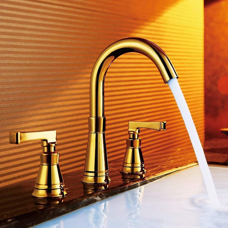 BILLY'S HOME Doppel-Griff 3-Loch-Waschbecken Spüle Wasserhahn, verGoldete Abdeckung soilem Bad Waschbecken Wasserhahn Waschbecken, Blei frei, Chrome Gold,Gold
