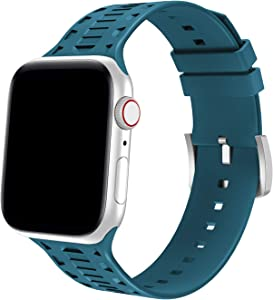 Bandiction Sport Band Compatible for Apple Watch Band 42mm 44mm, Breathable Soft Silicone Strap Compatible for iWatch Band Series 5/4/3/2/1 (Pacific Green)