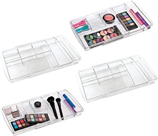 mDesign Expandable Makeup Organizer for Bathroom Drawers, Vanities, Countertops: Organize Makeup Brushes, Eyeshadow Palettes, Lipstick, Lip Gloss, Blush, Concealer - Adjustable Width, 4 Pack - Clear