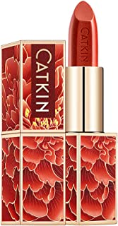 CATKIN Red Lipstick, Orange Red Gold Shimmer, Waterproof Long Lasting Satin Nourish Moisturizing Smooth Soft 0.13 Ounce-Chinese Style - CO132
