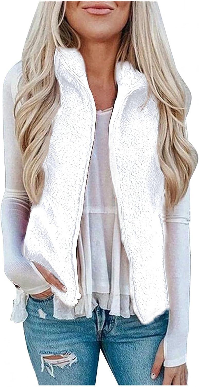 Winter Fur Womens Jacket Fashion Solid Color Jacket Plush Sleeveless Lapel White Fleece Lining Vest Thicken Loose Coat