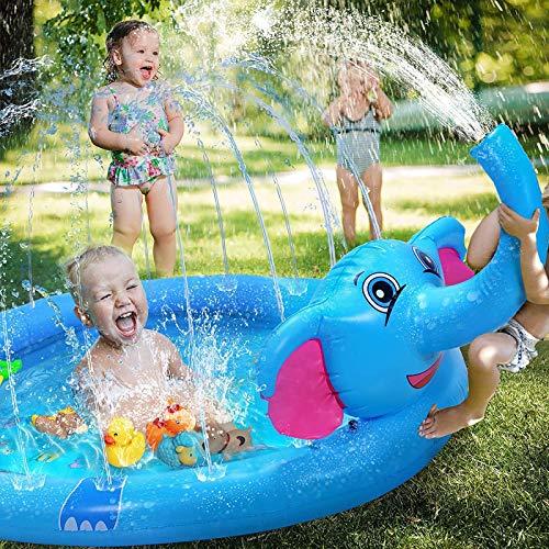 Lurowo - Alfombra infantil de chorro de agua, 170 cm, hinchable de elefante, PVC duradero, juguetes al aire libre de verano para niños y niñas