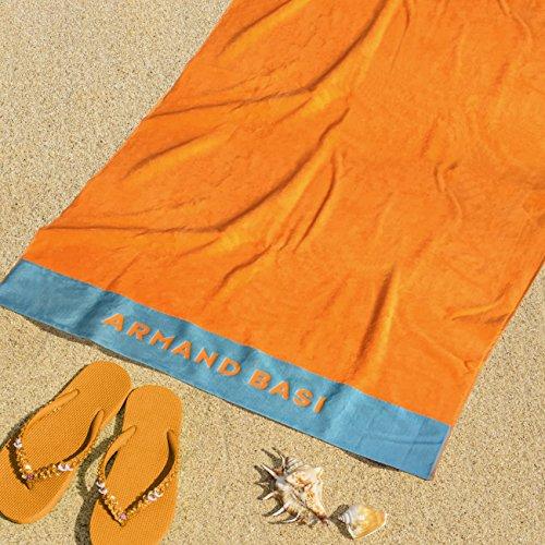 Burrito Blanco Armand Basi Toalla de Playa/Toalla de Piscina 62 Grande Lisa Algodón 100% con Tacto de Terciopelo Rectangular de 100x180 cm, Naranja