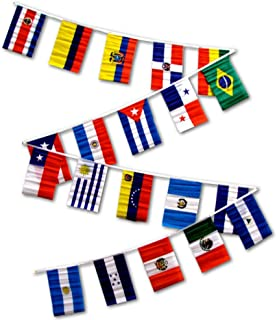 30ft String Flag Set of 20 Latin American Country Flags