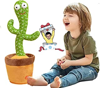 Dancing, Singing and Shaking Cactus Plush Toy- Repeat Whatever You Said, With 120 English Songs for Kids (No Batteries)