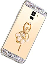 Herbests Compatible con Samsung Galaxy A6 2018 Funda de Espejo Flexible Diamante a Strass Glitter Bling Cover Case para Mujer Chica Cárcasa con Soporte Funda de Silicona Suave,Dorado