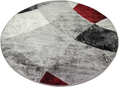 Teppich-Traum Tapis de Salon Moderne Design Abstrait marbré Losanges ondulés Rouge Gris - résistant & Durable Größe 240 x 340 cm