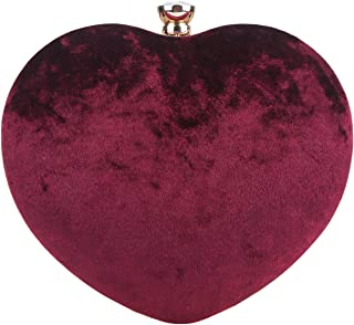 Heart Clutch Velvet Crystal Evening Bags And Clutches