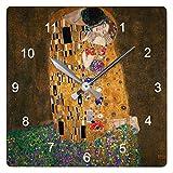 グスタフ・クリムト『 接吻(ザ・キス) 』の壁掛け時計(四角型):ピクチャークロック(世界の名画シリーズ) (B) [並行輸入品]