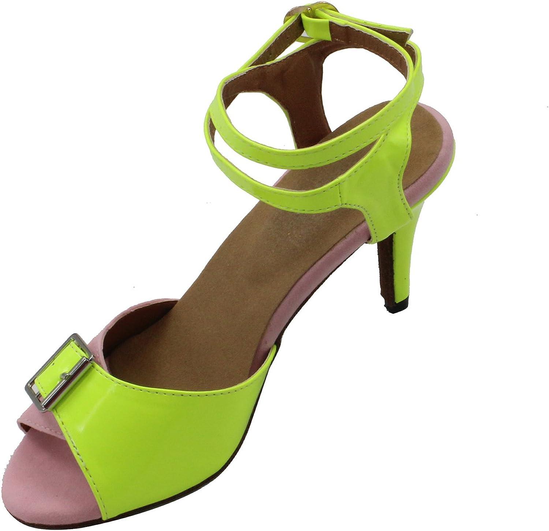 MsMushroom Woman's PU Split Joint Modern Ballroom Dance shoes Yellow and Pink 4  Heel