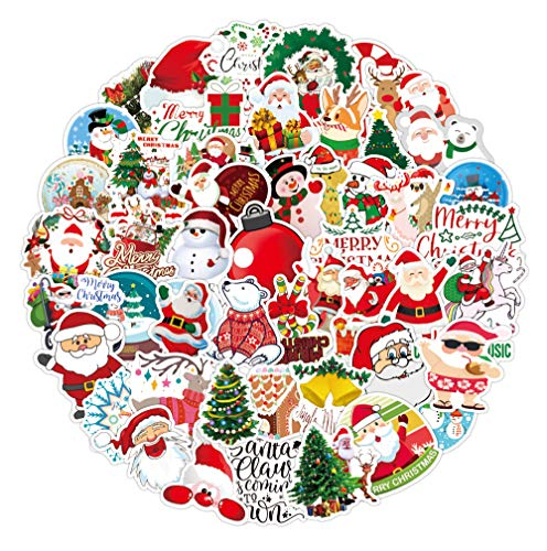 100 Stück Weihnachtsaufkleber Marry Christmas Dekorationen Aufkleber für Kinder Geschenk für Reisen Gepäck Schreibtisch Laptop Tür Fenster Karten