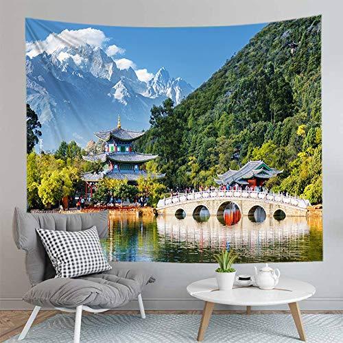 JXCDNB 150CMX130CM Tapiz de montaña Impreso en 3D decoración del Dormitorio Paisaje Manta Estera de Yoga Cortina Colgante de Pared