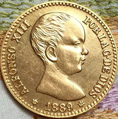Bespok Souvenirs Rare Antique Antiguo Europeo 1889 España 20 Pesetas Moneda