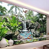 3D写真の壁紙、公園の風景、恐竜、壁の装飾、絵画、リビングルーム、ソファ、テレビ、壁紙 140x100cm