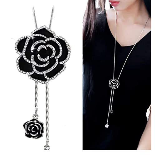 YouBella Latest Traditional Jewellery Silver Plated Pendant for Women (Black)(YBNK_5470)