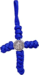 Small Paracord Rope Cross with St. Benedict Pendant, Key Chain Pack of 3 with Green, Blue, Black, 4 Inches
