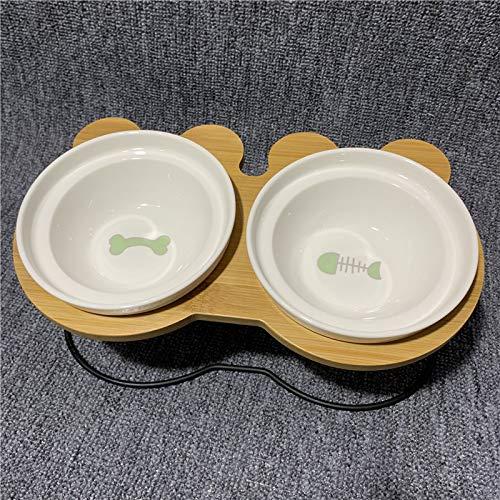 Cat bowl kat kom dubbele kom water kom ceramische schotel met een afdruiprek geneigd zijn om de cervicale bevel hond kom dubbele bowl (been + visgraten) + afdruiprek beschermen