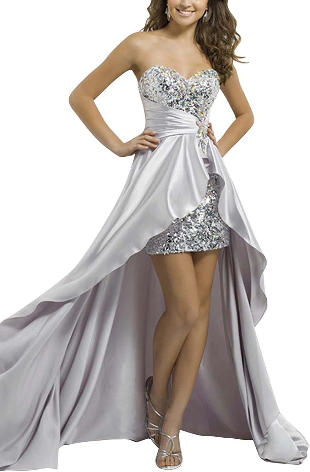 Ellenhouse Women's Sequined High Low Homecoming Prom Party Dresses EL064