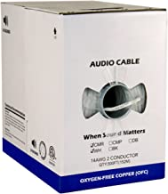 Audio Cable, 14AWG, 2 Conductor, 41 Strand, 500 ft, PVC Jacket, Pull Box, White