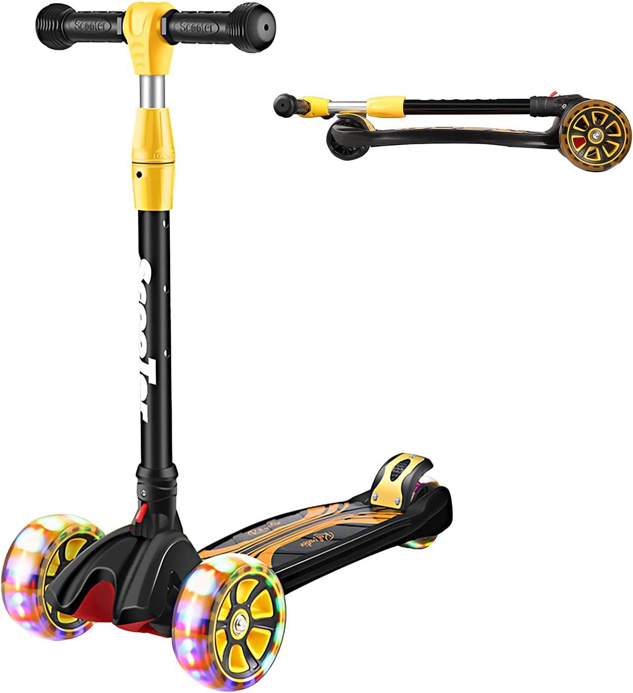 Patinete Triciclo Scooter infantil de Primie, con ruedas LED de poliuretano, con doble rueda trasera, altura ajustable y plegable, para niños y niñas de 4 a 12 años de edad