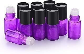 Gemstone Roller Ball Bottle,2ml Mini Glass Bottles Essential Oils Roller Bottles Roll On Bottles With Healing Crystal Chips Inside Travel Sample Bottles (20 pcs, purple)