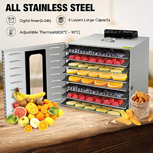 8 Tray Commercial Food Dehydrator Machine Stainless Steel 1000w Digital Adjustable Timer and Temperature Control Dryer for Jerky, Herb, Meat, Beef, Fruit and To Dry Vegetables