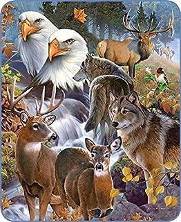 Regal Comfort Wildlife Collage Faux Fur Medium Weight Mink Blanket 79
