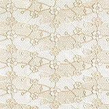 Fabulous Fabrics Spitze Weiss/Gold, 135 cm breit – Spitze