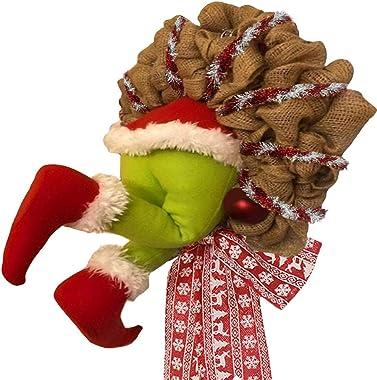 WAQIA Christmas Wreath How The Christmas Thief Stole Christmas Wreath,Creative Christmas Wreaths for Christmas Burlap Wreath
