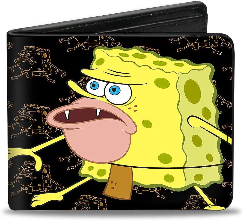 SpongeBob SquarePants mens Buckle-down Pu Bifold - Primitive Sponge Pose/Pose Outline Black/Brown Bi Fold Wallet, Multicolor, 4.0 x 3.5 US