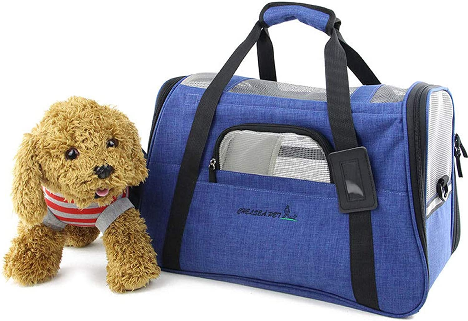Reversible Pet Carrier Soft Animal Bags  Portable SoftSided Air Travel Bag  Best for Small Or Medium Dog and Cat (color   Dark bluee)