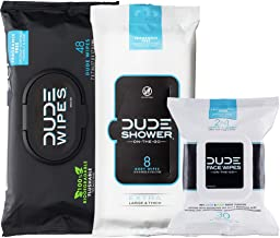 DUDE Wipes Flushable (48ct), DUDE Shower Body Wipes (8ct), & DUDE Face Wipes (30ct) Unscented with Vitamin-E & Aloe - Head to Toe DUDE Combo