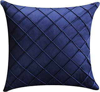 Jeanzer Cozy Velvet Square Decorative Throw Pillow Cover Case for Sofa Cushion Couch Bedroom Home Decor,18 x 18 Inches, Navy Blue (Without Pillow Insert)