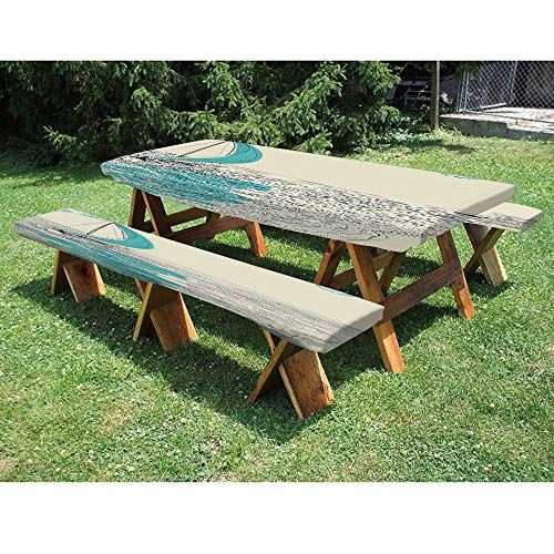 72' Polyester Picnic Table and Bench Fitted Tablecloth,Sailing Boat Reflection Cloudy Sky Sandy Seaside Shoreline Hobby Water Sports 3-Piece Elastic Edged Table Cover for Christmas,Parties,Picnic