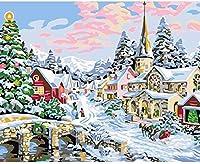 大人のための数字キットによるペイントクリスマス雪のシーンアクリルDIY油絵作品子供のためのキャンバスの色初心者40x50cmフレームレス