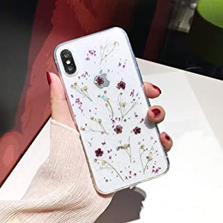 Shinymore iPhone XR Flower Case, Soft Clear Flexible Rubber Pressed Dry Real Flowers Case Girls Glitter Floral Cover for i...