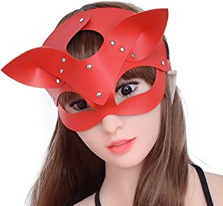 Sexy Cat Mask With Ears For Women Leather Studded Cat