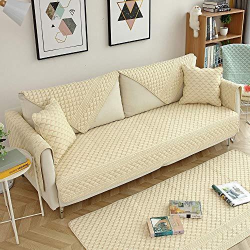 Homeen Sala Sofa Cover,Couch Coat,Funda Protectora de sofá de algodón de 1/2/3/4 plazas, Fundas de cojín de sofá Acolchadas de Tela, Funda de sofá, Fundas de reposabrazos, Funda de sofá-Beige_Los 70