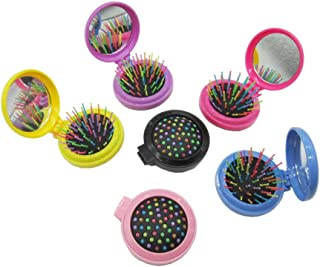 6 Pcs Round Folding Hair Brush With Mirror Compact Pocket Size Mini Pop Up Hairbrush Set for Travel