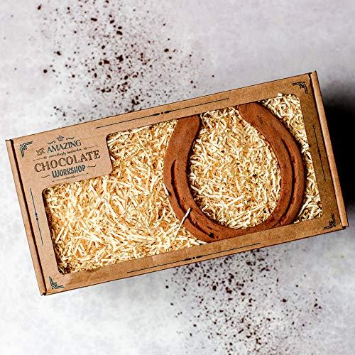 Erstaunliche Schokoladen-Hufeisen-Geschenkbox - Realistische vegane handgefertigte Pferdeliebhaber Hufschmiede Weihnachtsgeschenk-Feier-Set danke