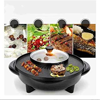2 en 1 Fondue Electrique Hot Pot BBQ Appareil Fondue Chinoise Service à Fondue Poêle Electrique pour Barbecue Thaï Capacit...