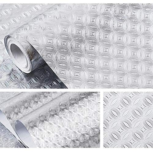 kengbi Fácil de decorar populares Duraderos Wallpapers Lujo Chino Plata Oro Foil Revestimiento de Pared 3D Autoadhesivo Cocina Aceite Prueba Papel Pared Estufa Diy Tabla Cubierta Etiqueta
